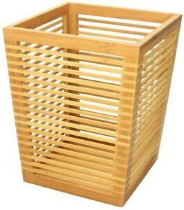 Bathroom Bin, Paper Basket H 32cm, Made of Waterproof Bamboo