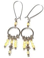 Yellow Chandelier Hoop Earrings Silver Pierced Hooks Glass Bead Long Drop Dangle