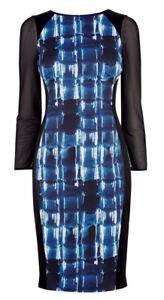 KAREN MILLEN Blue White Graphic Stripe Print Black Panel Side Pencil Dress UK14