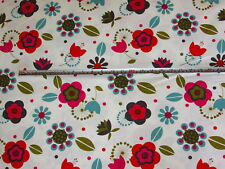 Retro 1950's 60's Colourful Stylised Floral 100% Cotton Furnishing Fabric 1.6 mt