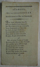 Stances sur la Naissance de S.A.R. le Duc de Bordeaux.