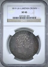 NGC XF45 1819 Great Britain Silver Crown PQ+ King George III UK Nice Patina