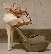 CHARLOTTE RUSSE Dazzling-73 Grey Blush Nude Strap Platform Stiletto Sandals 8