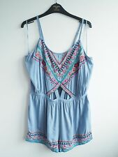 River Island Embroidered Floral Baby Light Summer Blue Cut Out Playsuit Romper L