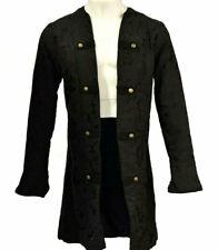 Pirate Black Brocade Renaissance Buccaneer Vampire Frock Coat L Costume T038