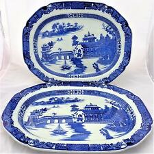 "Pair 18"" Antique Transferware Meat Plate Platter Ashet Long Bridge Pattern 1810"