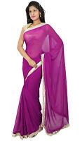 Tragen Sari indischen ethnischen Designer Bollywood rosa Saree Hochzeitskleid