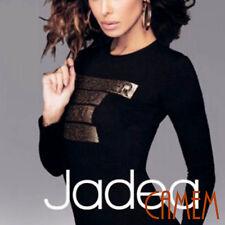 Maglia T-shirt Donna Jadea Moda Manica lunga Stampa frontale Oro con Strass M/l Nero