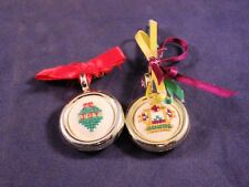 "Nice Pair of 1"" Stich Embroidery Homemade Pins"