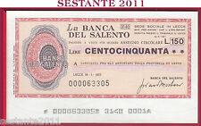LA BANCA DEL SALENTO LIRE 150 18.01. 1977 CONS. ARTIGIANI PROVIN. LECCE FDS B358