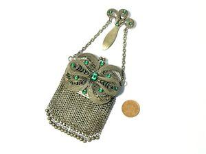 19thC Chatelaine Mesh Chain Vanity Mirror Purse Green Paste Stones UNUSUAL