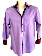 COOGI LUXE LS Button Front Dress Shirt Small Purple Contrast Cuffs Collar Cotton