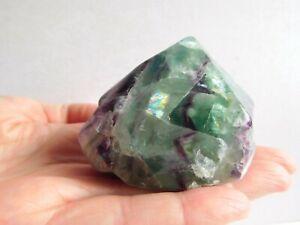 Large Chunky Rainbow Fluorite Crystal Cut Base Polished 6 Sided Point 205g