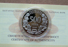 BULGARIA 500  Leva 1997 coin Unc PROOF Certificate Atlantic solidarity