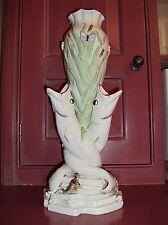 "Belleek Parian Porcelain Triple Fish Vase / 15.75"" / Made in Ireland"