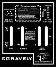 Gravely riding mower shift plates stickers ( electric-manual-hydraulic )