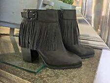 ALDO Black Leather 'Tahlia'  Fringe Ankle Size Zip Boots Size 9 NWOT