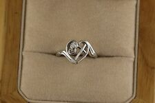 Heart Ring With Cross and Diamond 14kt White Gold