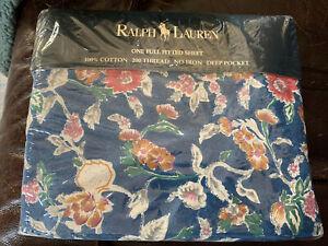 RALPH LAUREN HOME Vintage Jardin Blue Floral FULL Fitted Sheet, 200 Thread NEW