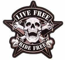 HUGE LIVE FREE RIDE FREE SKULL PATCH JBP51 biker star skulls embroidered patches