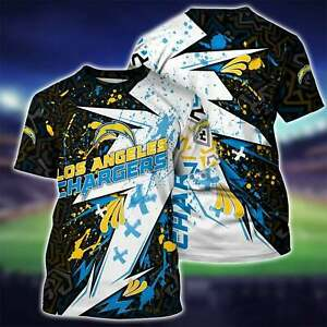 Los Angeles Chargers Football Short Sleeve T-Shirt Summer Casual Tee Tops S-5XL