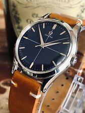 Omega Steel Blue Crosshair Dial Face Mens Vintage 1954 serviced March watch
