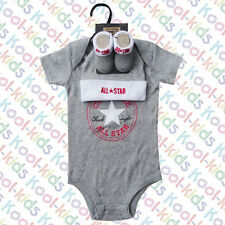 CONVERSE BABY BOYS VEST, HAT & BOOTIES ON A PRESENTATION HANGER - 0-6 MONTHS -