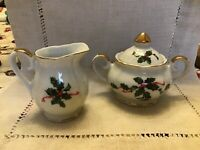 VINTAGE LEFTON 03027 PORCELAIN CHRISTMAS HOLLY CREAMER AND SUGAR BOWL
