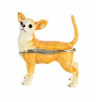 Schmuckkästchen Deckeldose Chiwawa Pillendose Hundefigur Chihuahua Skulptur Hund