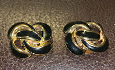 Vintage Bluette Shoe Clips Gold Tone Black Knotted Made In France Gorgeous