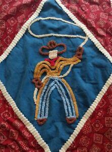 Cowboy Rodeo Baby Nursery Wall Panel Hanging Art Red Bandana Blue Denim Chenille