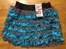NWT Kids Headquarters Girl's Blue & Brown Ruffled Skooter Skirt - Size: 4