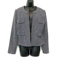 Cynthia Rowley L Navy Blue White Blazer Jacket Career Lined