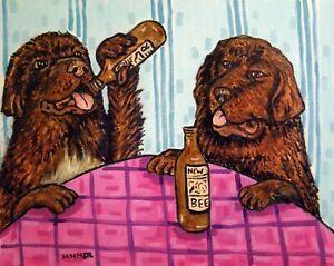 NEWFOUNDLAND DRINKING BEER animal dog art  13x19   abstract modern GLOSSY PRINT