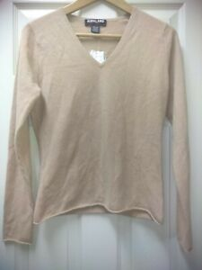 NWT Kirkland Signature 100% Cashmere Light Brown Sweater Size Small