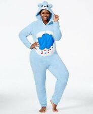"Care Bear ""Grumpy Bear"" 2X Plus Size Fuzzy Hooded Jumpsuit / One Piece Pajama"