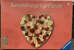 Ravensburger Silhouette HEART Shaped 948 Piece Jigsaw Puzzle 1999 Roses RARE
