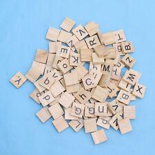 100 Wooden Alphabet For Scrabble Tiles Black Letters & Number For Crafts Wood