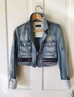 Y2k Vintage Cropped Jean Jacket By Cimarron  Size Medium