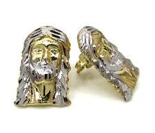 2.20 Grams Mens Ladies 10k Real Yellow Gold Long Jesus mini Face Earrings Studs