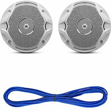 "JBL Marine 6.5"" White Dual Cone 150W Speakers, Cadence 50 FT Marine Speaker Wire"