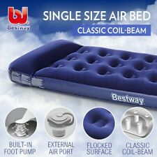 Bestway Inflatable Single Air Bed Built-in Pump Mattress Flocked Camping Mat