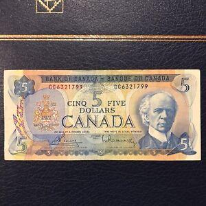 Canada 5 Dollar Bill Circulated $5 1972 Series Canadian Good Condition