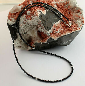 Spinel Necklace Precious Stone 925 Silver Facetted Black Spinels Necklace 45cm