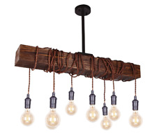 Farmhouse Ceiling Pendant Light Fixture Rustic Distressed Beam Hanging Lamp New
