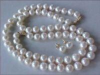 SET OF 9-10MM AAA GENUINE WHITE PEARL NECKLACE, BRACELET & EARRINGS 14K Gold
