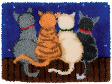 MeetBself Latch Hook Rug Kits Crocheting Carpet Rug Cats Acrylic Yarn Pre-Printe