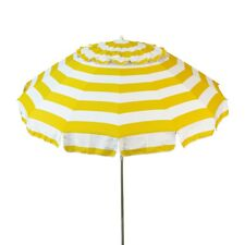 Yellow and White Striped 8 ft Diameter Deluxe Patio & Beach Umbrella & Carry Bag