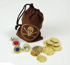 Pirate Argent Pochette Avec Pièces Loot Sac & Bijoux Pirates Trésor Fancy Dress