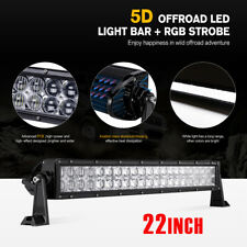"5D 22"" 280W CREE RGB Led Rock Light Bar Green Strobe Multi Color SUV Hunting 4x4"
